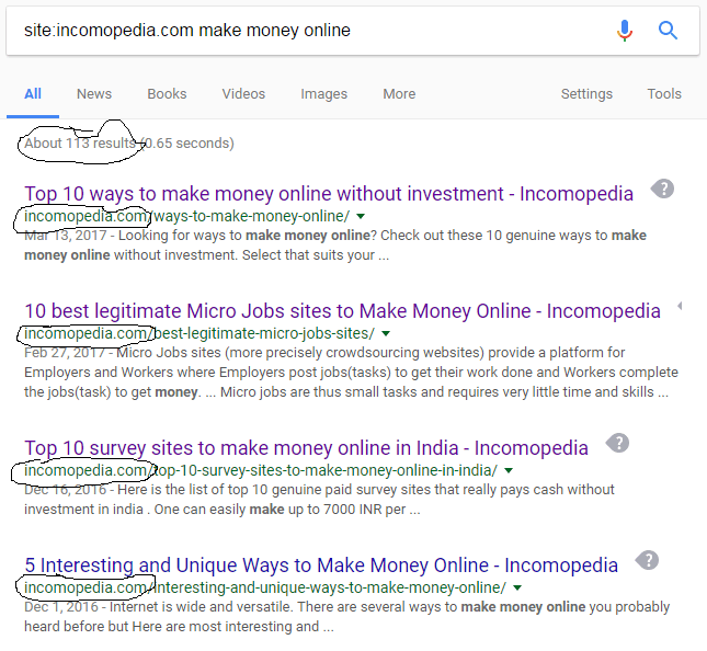 Search within a site in google