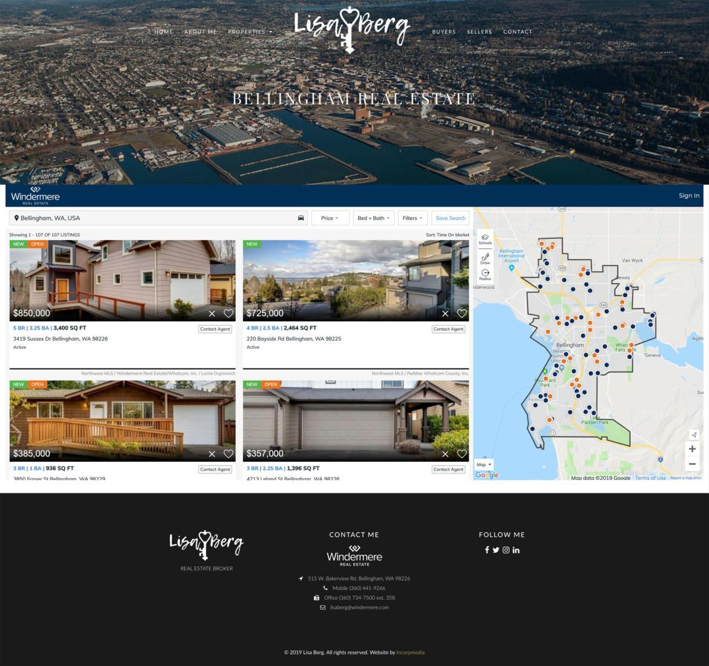 Lisa Berg Real Estate Website Design Listings