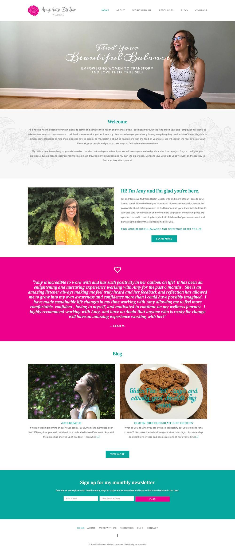 Amy Van Zanten Wellness Website Design and Development