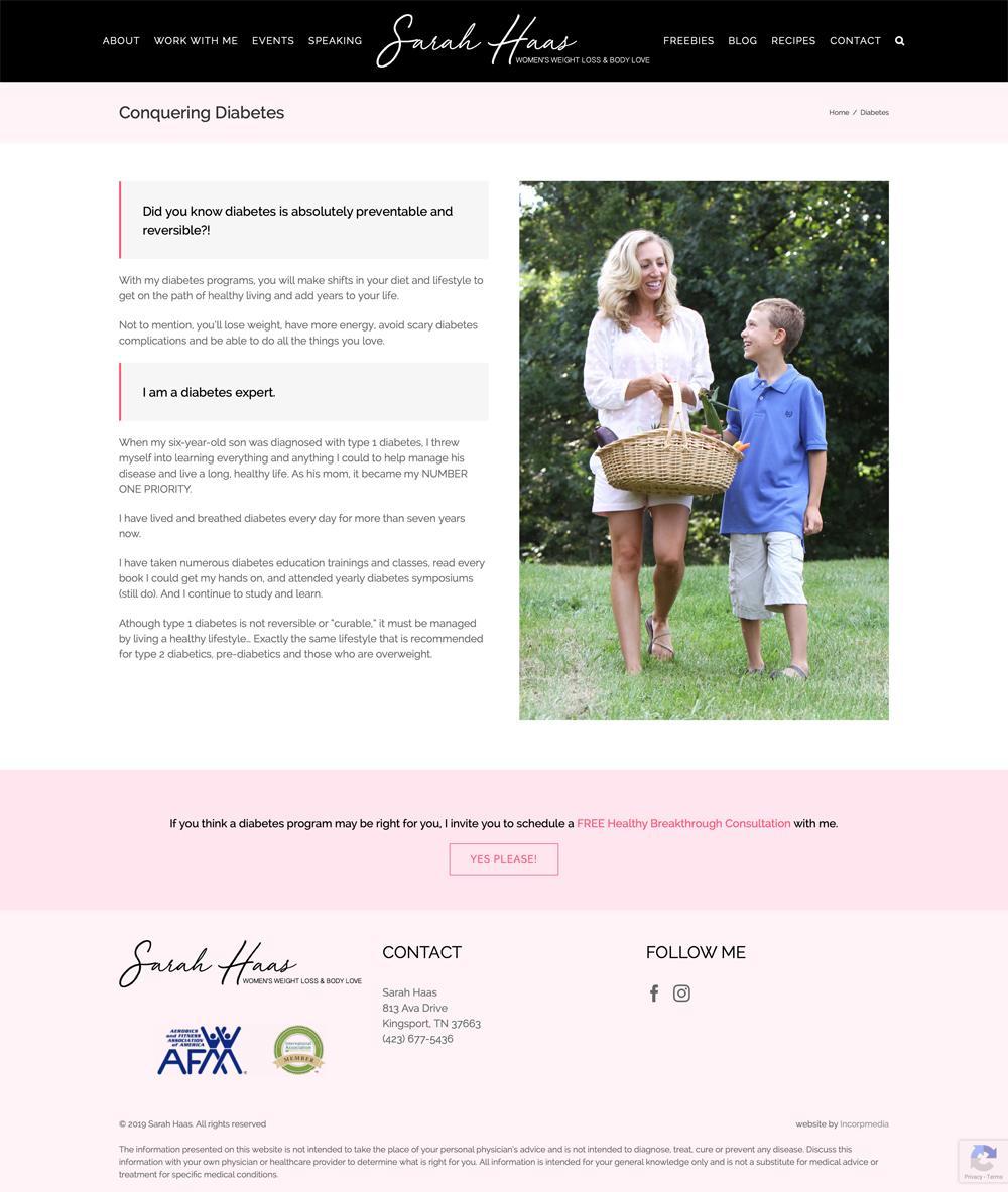 Health Coach Website Design Diabetes