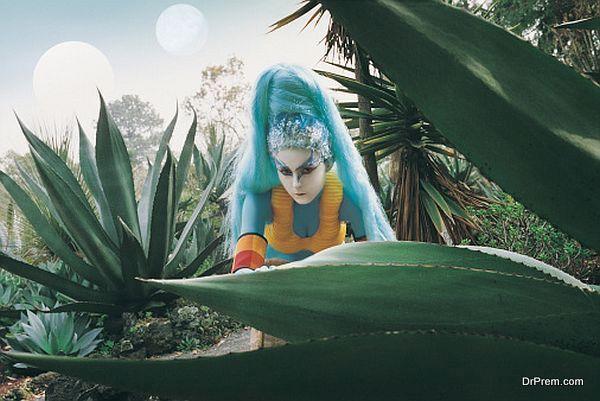 Female Alien Exploring Woodland