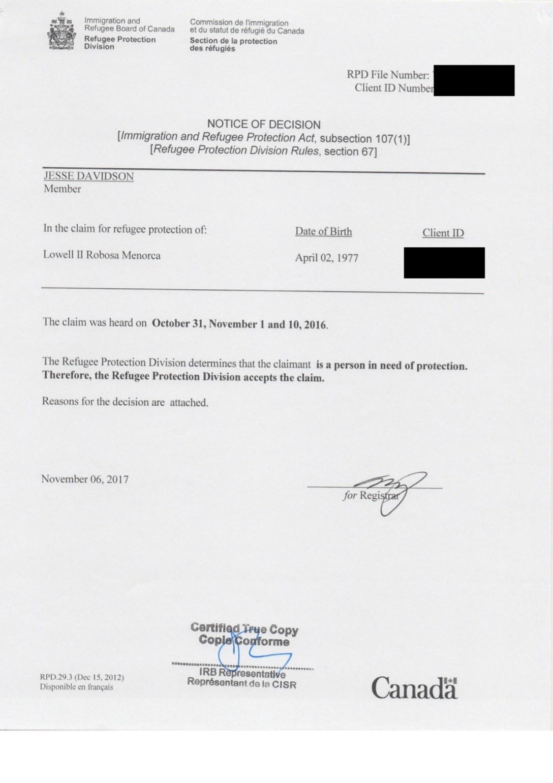 [2018.06.15] IRB DECISION - LOWELL MENORCA 1