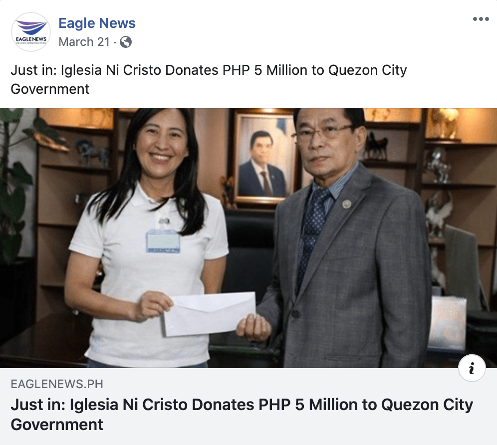Eagle News INC Donated 5 Million to QC
