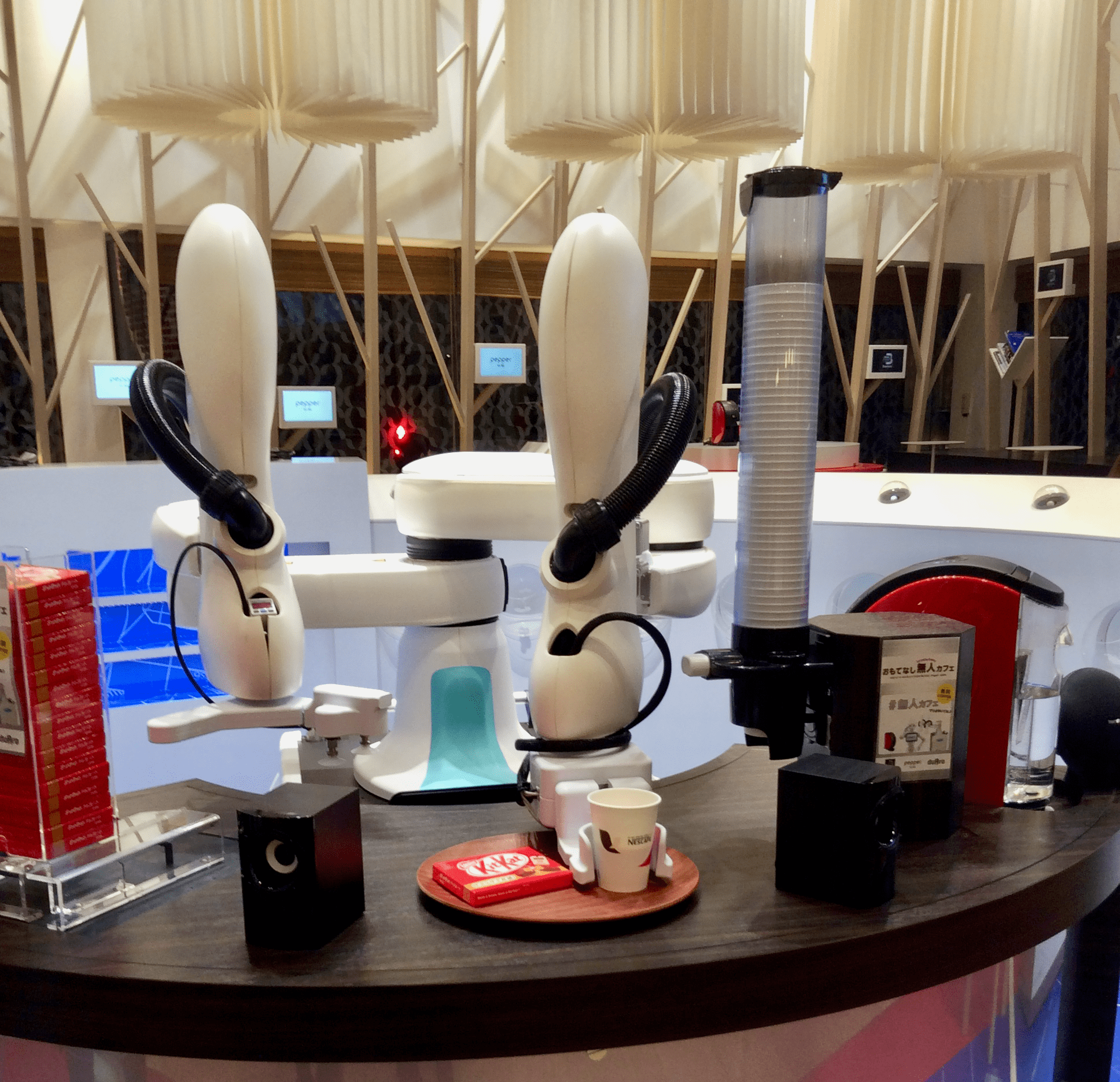 Enjoy personalized espresso served by robot arms