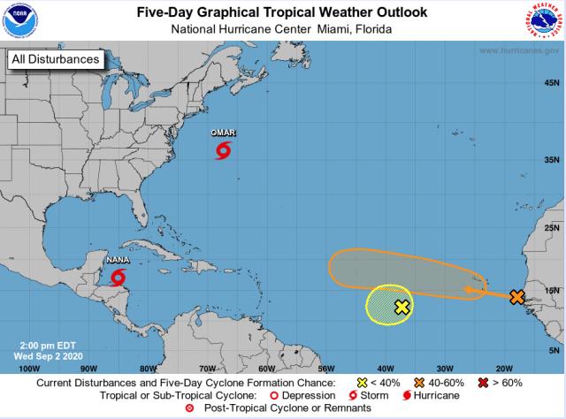 Prognozowana sytuacja w basenie Oceanu Atlantyckiego na najbliższe 5 dni. Sezon huraganów w pełni.