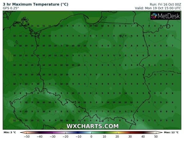 Prognozowana temperatura maksymalna w niedzielę, 18.10.2020 roku. Model GFS