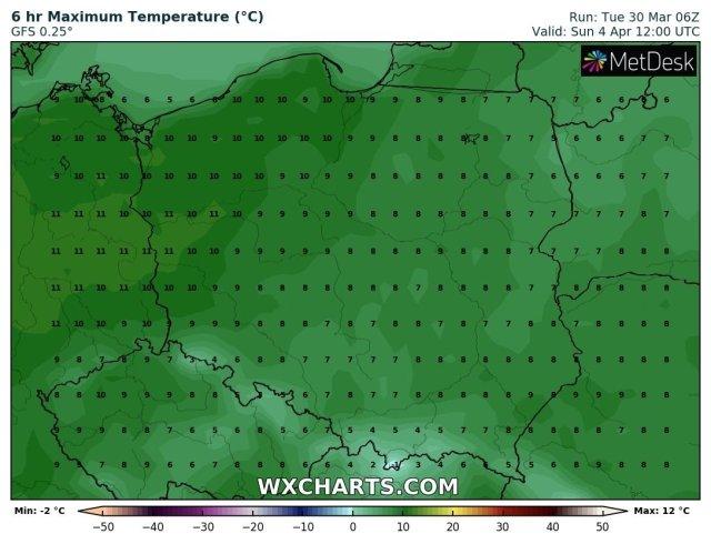 Prognozowana temperatura maksymalna w Niedzielę Wielkanocną (4.04.2021). Stan na wtorek, 30.03.2021. Model: GFS