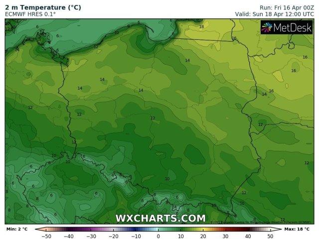 Prognozowana temperatura maksymalna w niedzielę, 18.04.2021. Model: ECMWF