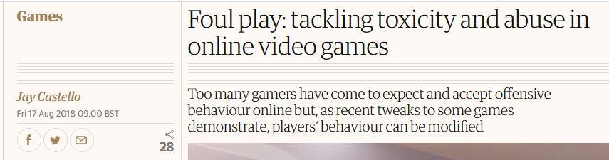 Toxicity in Gaming - Guardian