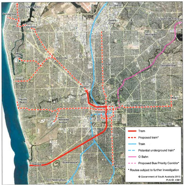 The State Government's map of the five proposed tram route extensions that make up AdeLINK.