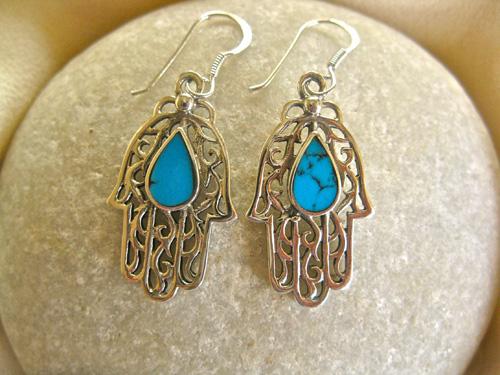 Turquoise Hamsa earrings