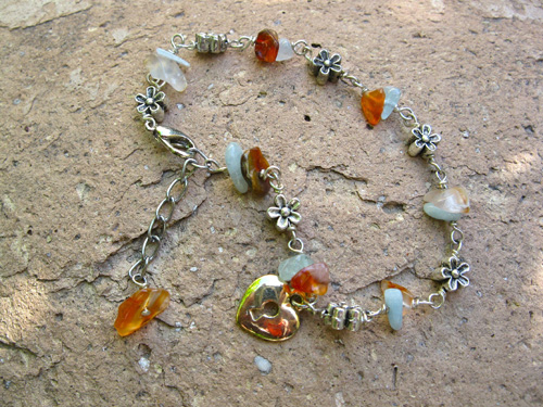 Aquamarine love lock heart bracelet