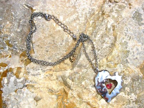 Birthstone jewellery hammered heart