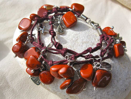 Red Jasper Angel charm bracelet