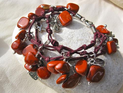 Red Jasper Angel charm bracelet