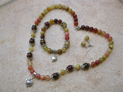 Jade love hearts jewellery set