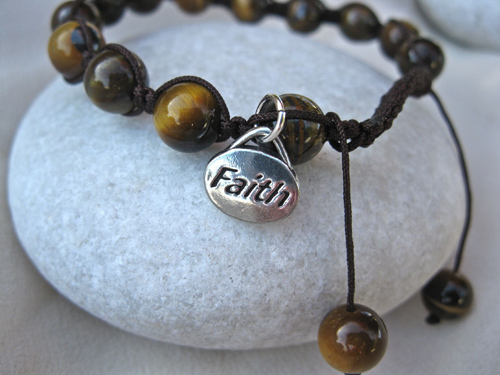 Tigers Eye Shambala faith bracelet