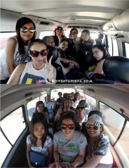 inside the van we rented from Laguindingan Airport to Balingoan Port