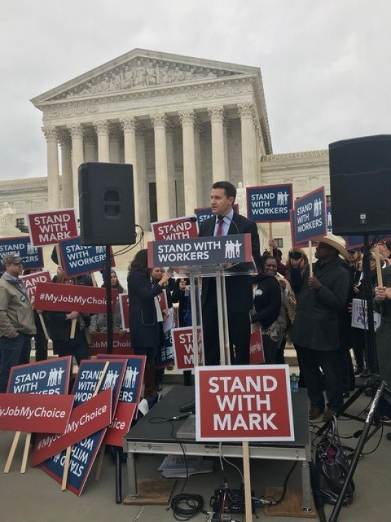 Jonathan Riches at U.S. Supreme Court speaking about Janus v. AFSCME case