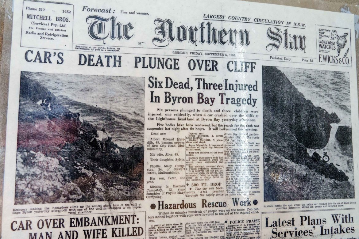 Tragedy in Byron Bay, a newspaper article from the past.  I located this inside the Byron Bay lighthouse museum.