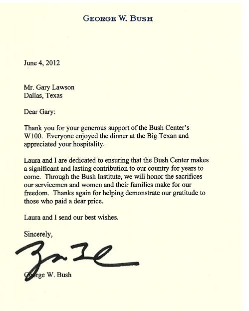 photo of thank you letter from George W Bush