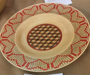 Faux basket weave platter with tumbling block bottom inlay by Mike McReynolds