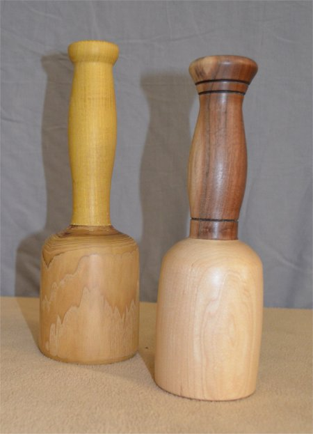 Carvers mallets with dovetailed, wedged mortise & tenoned handles