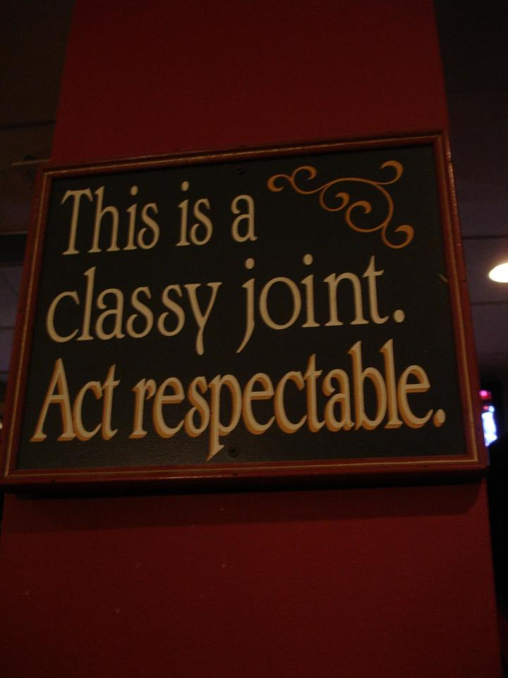 Classy joint act respectable sign