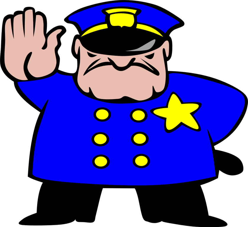 Cartoon police security officer