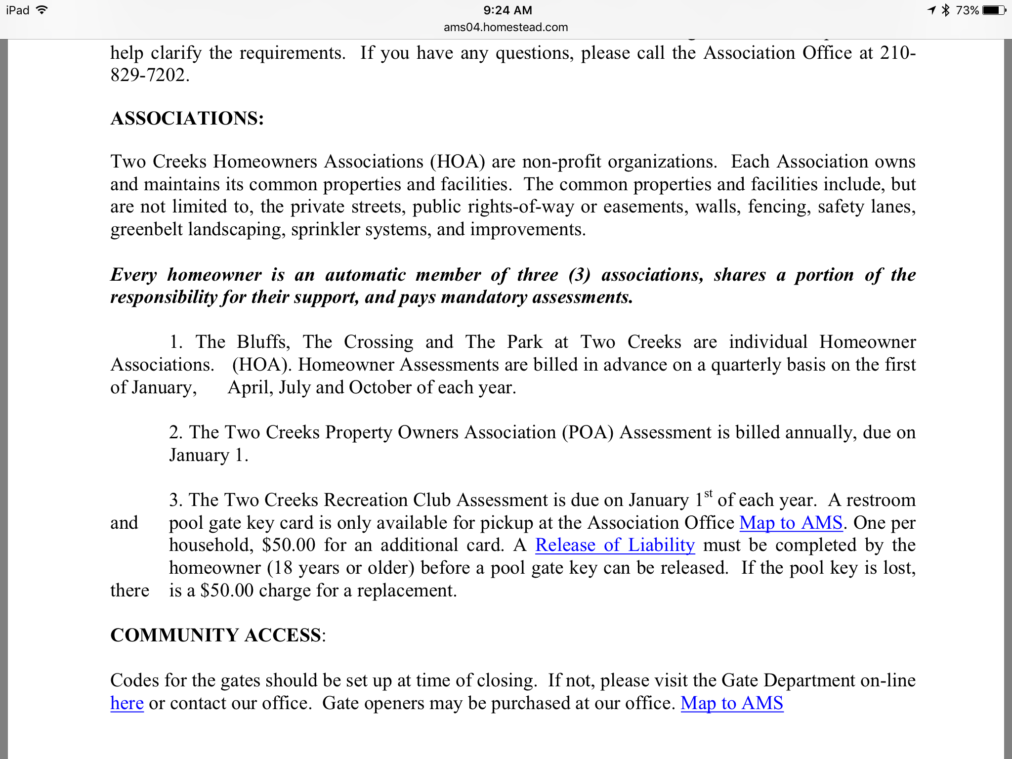 HOA: claim to the management company (sample)
