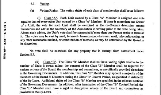 Summerwood HOA CC&Rs declarant disapproval rights (Captured May 17, 2018)