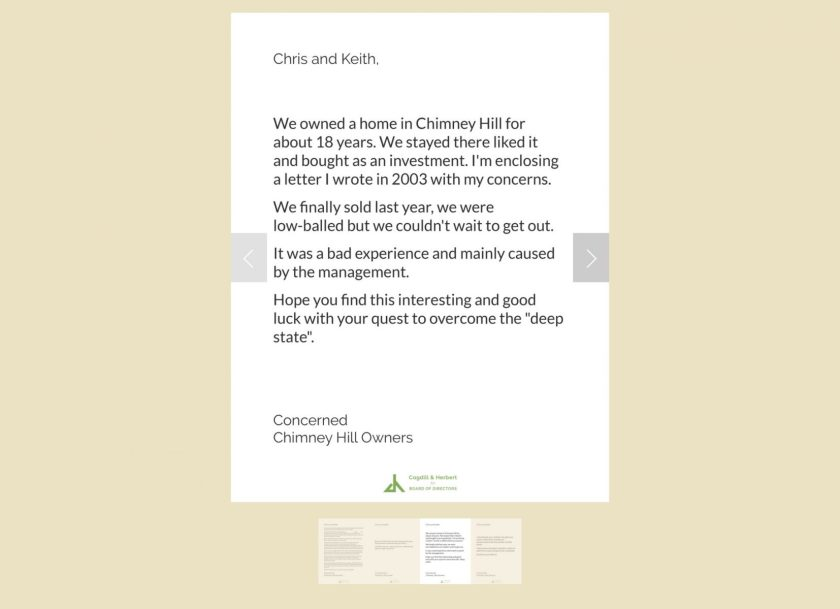 Chimney Hill Owners Association fomer owner letter