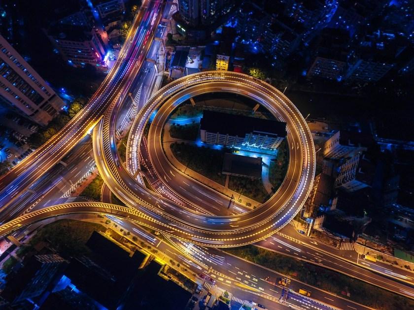 Highway loop at night
