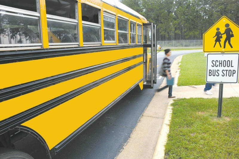 School bus stop at driveway