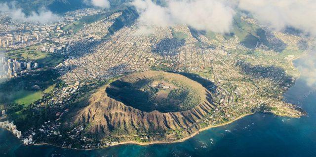 Hawaii mountains hillsides clouds