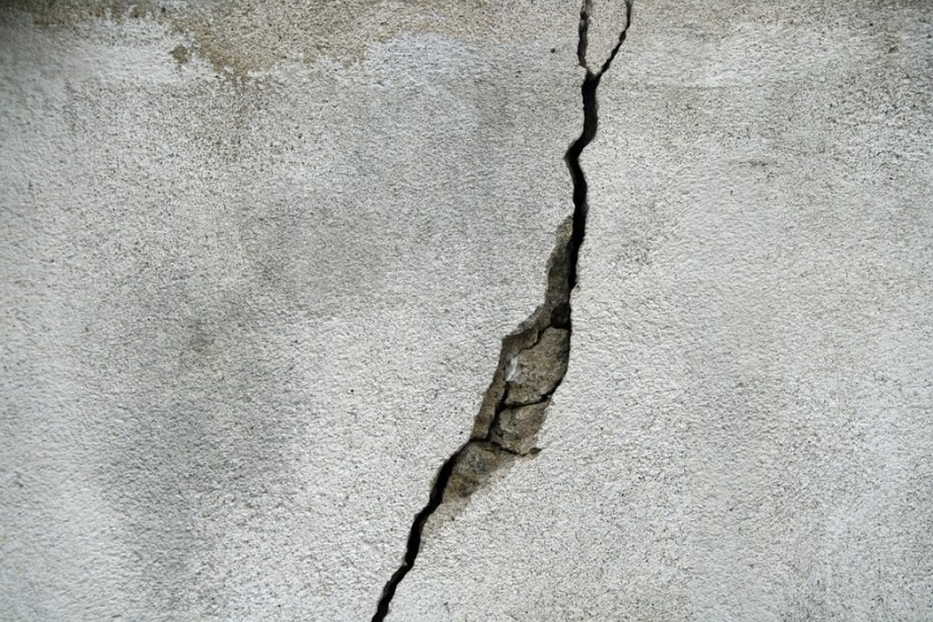Cracked concrete foundation