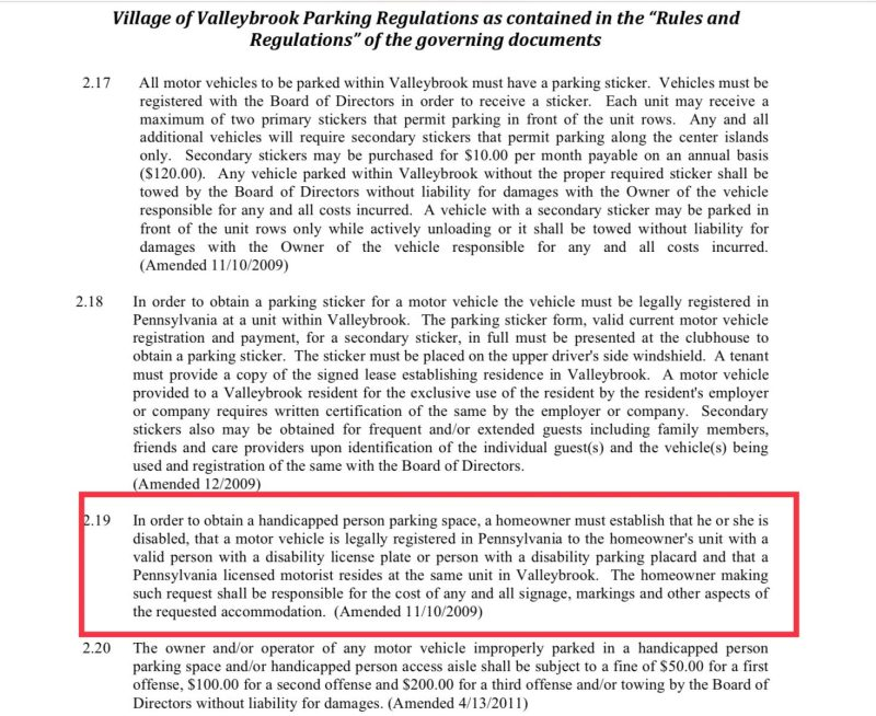 Village of Valleybrook HOA handicapped parking policy