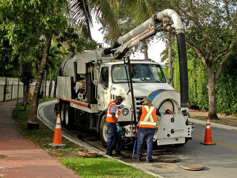 Workers public sewage pump