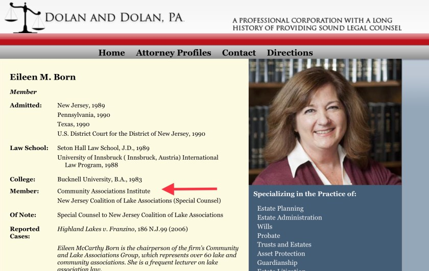 Screen shot of NJ Atty Eileen Born CAI