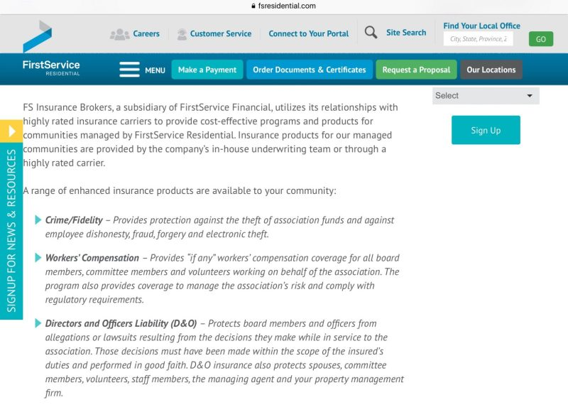 First Service Residential web page insurance svc