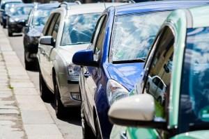 Traffic jam parked cars