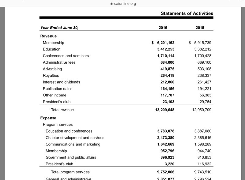 CAI Audit Revenue FY 2016