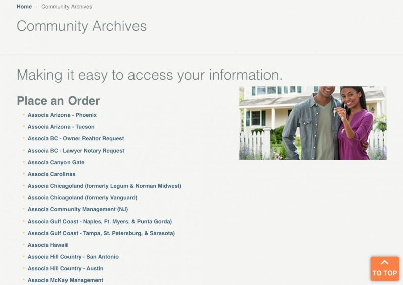 Associa online community archives document orders