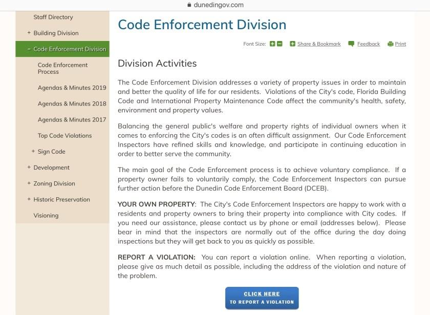 Dunedin code enforcement division screen shot