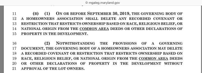 MD SB621 delete racial discriminatory language HOA 3