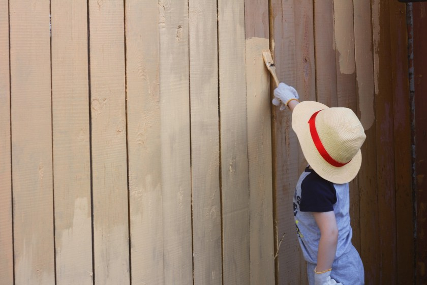Boy painting fence