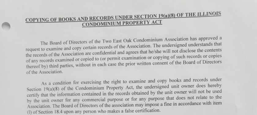 2 east oak condo assn nondisclosure form