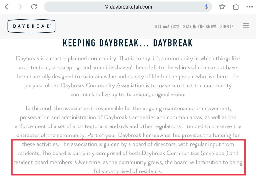 Daybreak Utah developer control