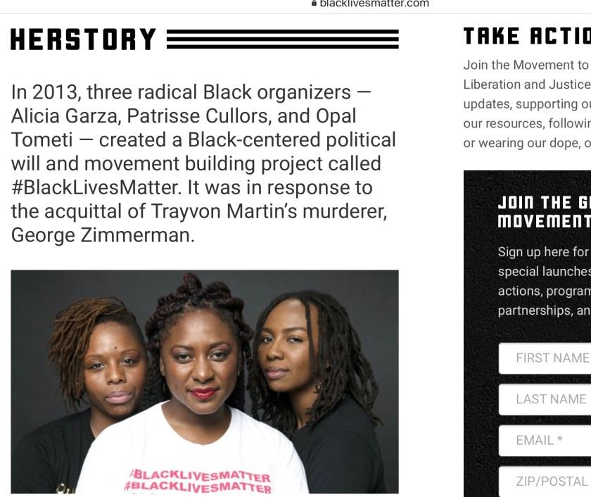 Black Lives Matter website Herstory About Trayvon Martin