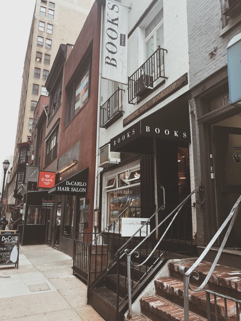 This is a photograph of the outside of Joseph Fox Bookshop in Center City Philadelphia, as taken by Jaylynn Korrell for Independent Book Review